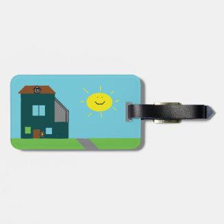 Etiqueta De Bagagem Arte do miúdo - céu & luz do sol da casa