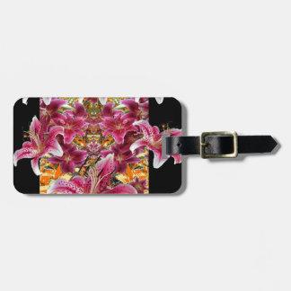 Etiqueta De Bagagem arte floral dos lírios do gazer da estrela