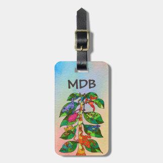 Etiqueta De Bagagem Árvore mexicana do sapo do monograma da aguarela