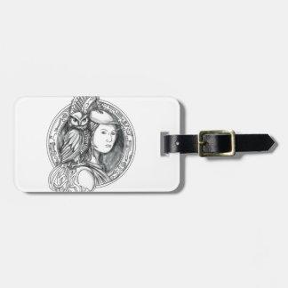 Etiqueta De Bagagem Athena com a coruja no Cir do circuito eletrônico