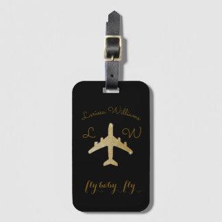 Etiqueta De Bagagem avião com nome & iniciais, viagem dourado