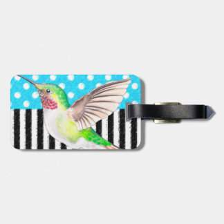 Etiqueta De Bagagem Azul artística do colibri