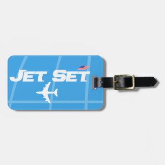 Etiqueta De Bagagem Azul retro do jet set