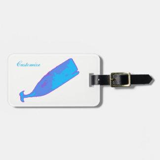 Etiqueta De Bagagem baleia azul que nada Thunder_Cove alguma cor