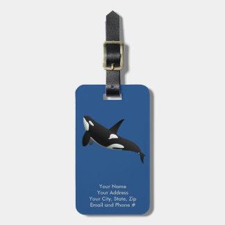 Etiqueta De Bagagem Baleia de assassino, orca do Orcinus