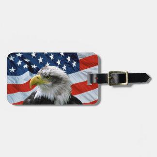 Etiqueta De Bagagem Bandeira americana da águia americana