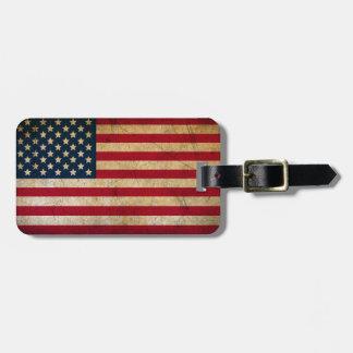 Etiqueta De Bagagem Bandeira americana do Grunge do vintage
