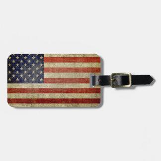 Etiqueta De Bagagem Bandeira americana resistida, afligida