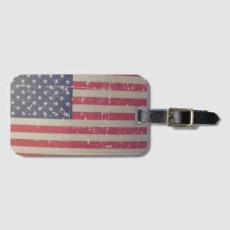 Etiqueta De Bagagem Bandeira americana resistida, afligida dos EUA