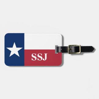 Etiqueta De Bagagem Bandeira azul branca vermelha de Texas do