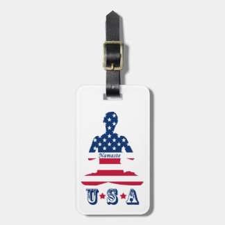 Etiqueta De Bagagem Bandeira da ioga do americano da meditação dos EUA