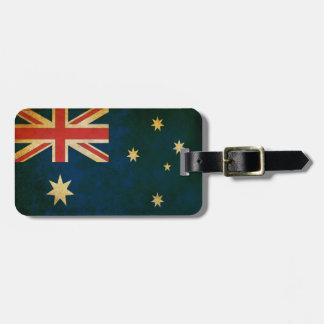 Etiqueta De Bagagem Bandeira de Austrália do Grunge do vintage
