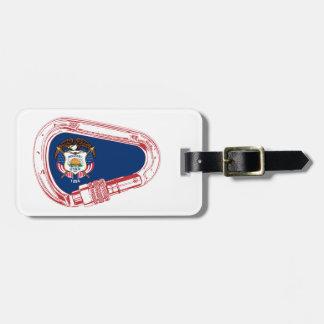 Etiqueta De Bagagem Bandeira de Utá que escala Carabiner