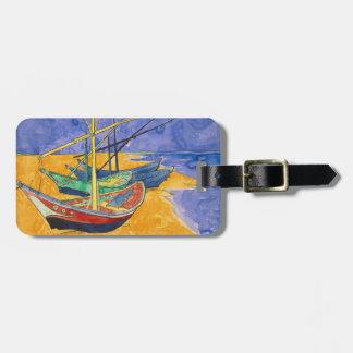 Etiqueta De Bagagem Barcos de Van Gogh na praia de Saintes-Maries