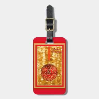 Etiqueta De Bagagem Bauble do Feliz Natal no ouro
