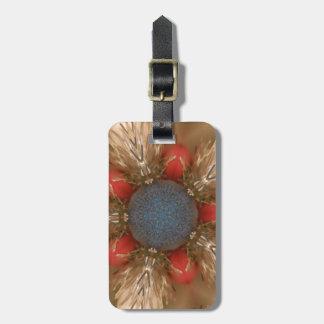 Etiqueta De Bagagem Baubles da decoração do Natal do vermelho azul