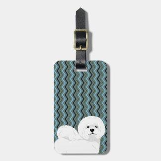 Etiqueta De Bagagem Bichon personalizado Frise - marinho azul prudente