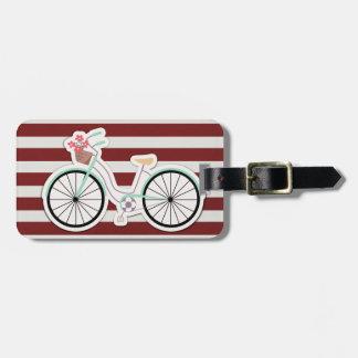 Etiqueta De Bagagem Bicicleta com a cesta das flores