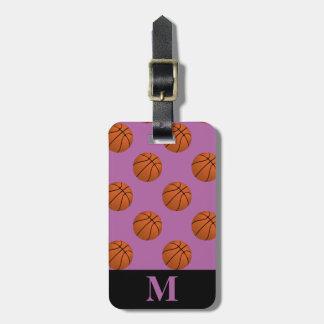 Etiqueta De Bagagem Bolas do basquetebol de Brown do monograma,
