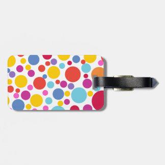 Etiqueta De Bagagem Bolinhas alegres coloridas customizáveis do