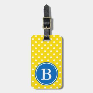 Etiqueta De Bagagem Bolinhas amarelas e brancas com monograma azul
