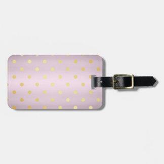 Etiqueta De Bagagem bolinhas cor-de-rosa do ouro do ouro elegante do