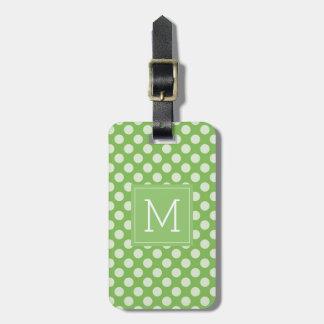 Etiqueta De Bagagem Bolinhas verdes do monograma |