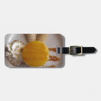 Etiqueta De Bagagem Bolo coberto doce do sorvete do abricó