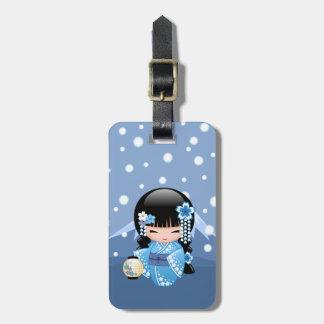 Etiqueta De Bagagem Boneca de Kokeshi do inverno - menina de gueixa