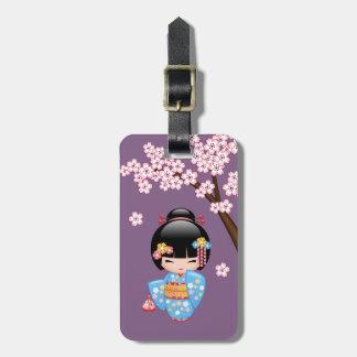 Etiqueta De Bagagem Boneca de Maiko Kokeshi - menina de gueixa azul do