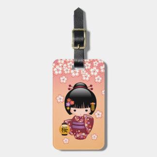 Etiqueta De Bagagem Boneca de Sakura Kokeshi - menina de gueixa no