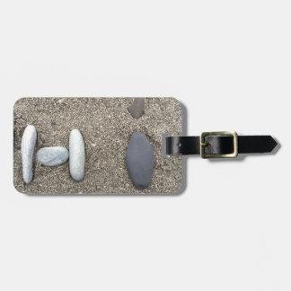 Etiqueta De Bagagem Bonito simples Beachy da rocha da areia da arte