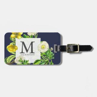 Etiqueta De Bagagem Botânico floral do monograma elegante
