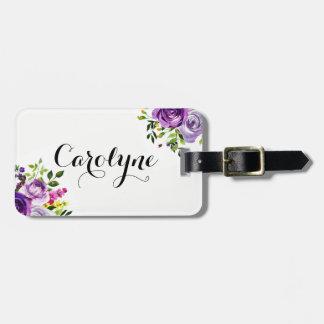 Etiqueta De Bagagem Botânico roxo dos rosas da aguarela personalizado