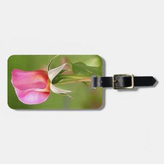 Etiqueta De Bagagem Botão solitário do rosa do rosa