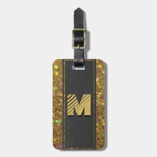 Etiqueta De Bagagem Brilho do ouro do monograma