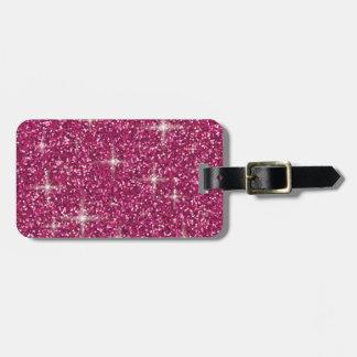 Etiqueta De Bagagem Brilho iridescente cor-de-rosa