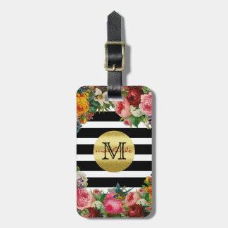 Etiqueta De Bagagem Brilho na moda do ouro das flores dos rosas das