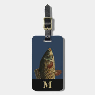 Etiqueta De Bagagem Cabeça verde cinzenta dos peixes da carpa do