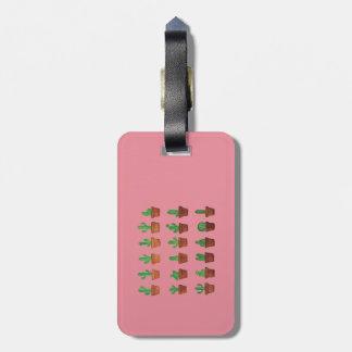 Etiqueta De Bagagem Cacto no Tag cor-de-rosa da bagagem