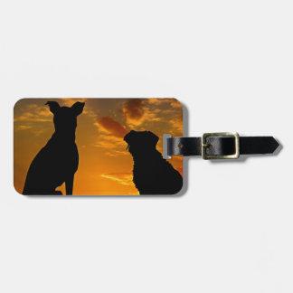 Etiqueta De Bagagem Cães no por do sol
