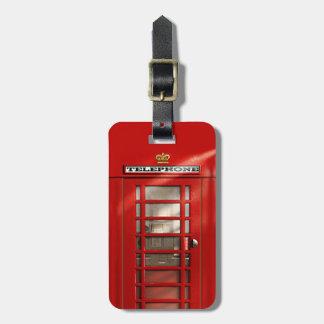 Etiqueta De Bagagem Caixa de telefone vermelha britânica clássica