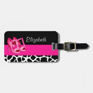 Etiqueta De Bagagem Calçados cor-de-rosa bonitos do impressão feminino