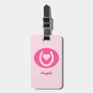 Etiqueta De Bagagem Calçados e coração cor-de-rosa do cavalo