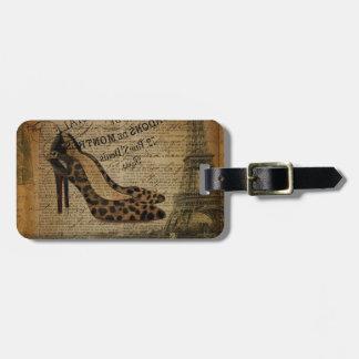 Etiqueta De Bagagem calçados femininos do fashionista da torre Eiffel