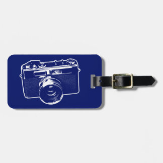 Etiqueta De Bagagem Câmera azul do pop art