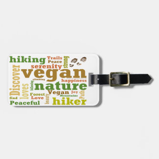 Etiqueta De Bagagem Caminhante do Vegan que caminha a nuvem da palavra