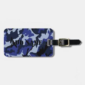 Etiqueta De Bagagem Camo azul adiciona o nome, Tag da bagagem com