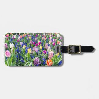 Etiqueta De Bagagem Campo de flores com jacintos e ponte das tulipas