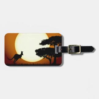 Etiqueta De Bagagem Canguru no Tag da bagagem do por do sol